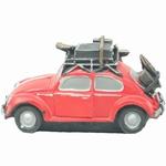 308  Volkswagen kever met Koffers  rood +/- 15 cm